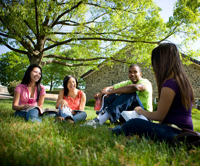 Students sitting on grass, chatting
