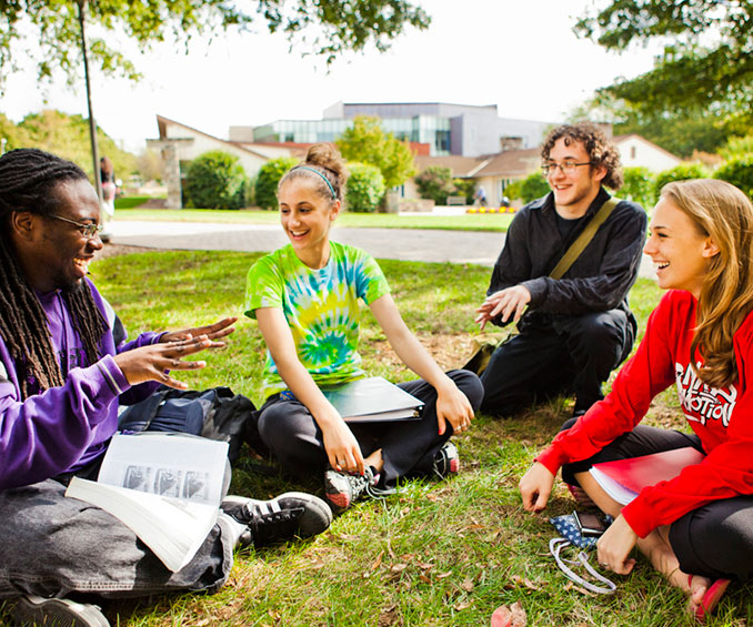Students sitting on a lawn, chatting